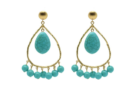 Polka Turquiose Tear drop Earrings
