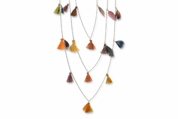 Pomona Green Chain Necklace with Multi Coloured Feathers & Tassels