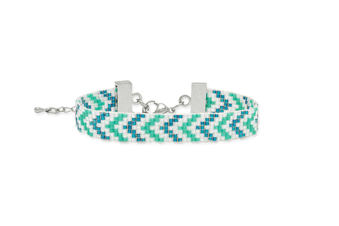 Quicksand Green & Blue Beaded Bangle Bracelet