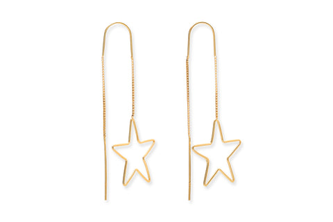 Rossum Gold on Sterling Silver Star Thread Through Earrings
