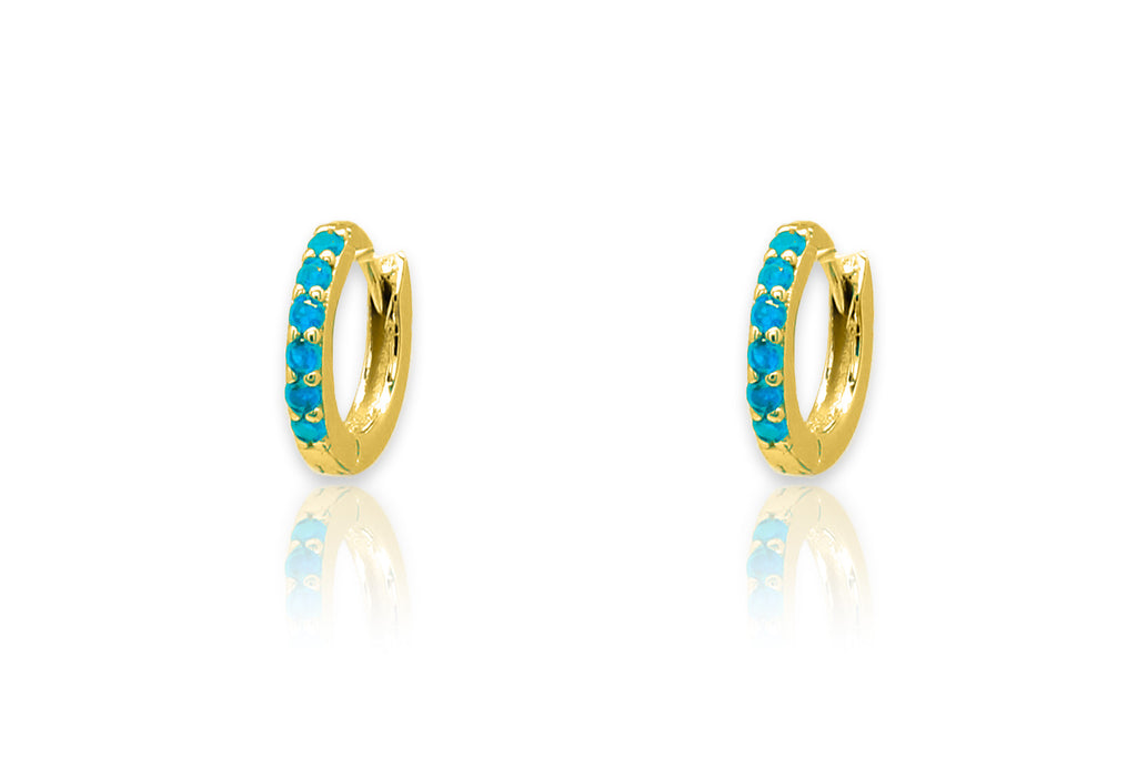 Reddy Turquoise Gold Huggie Earrings - Boho Betty