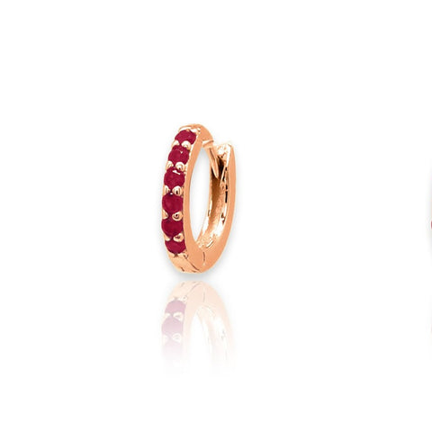 Reddy Red Crystal & Rose Gold Hoop Huggie Earrings