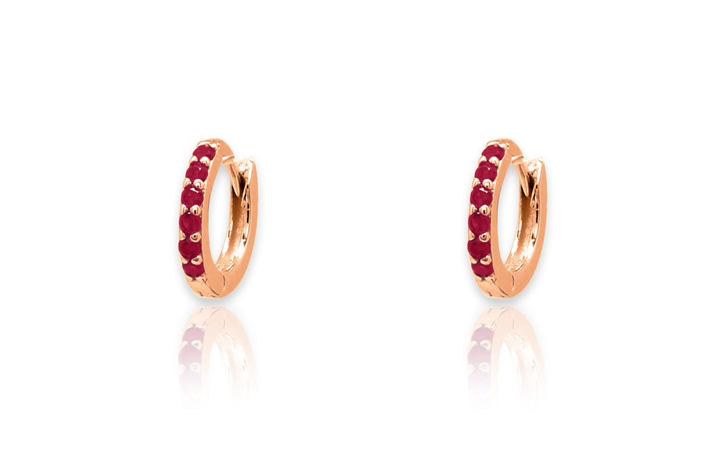 Reddy Red Crystal Rose Gold Huggie Earrings - Boho Betty