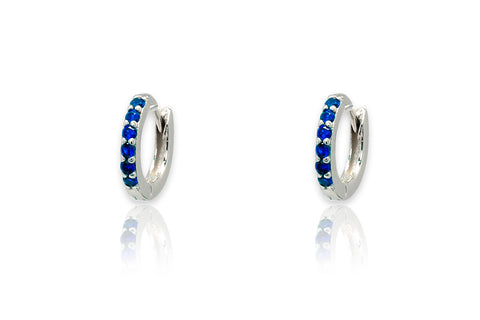 Reddy Navy Crystal & Silver Huggie Earrings