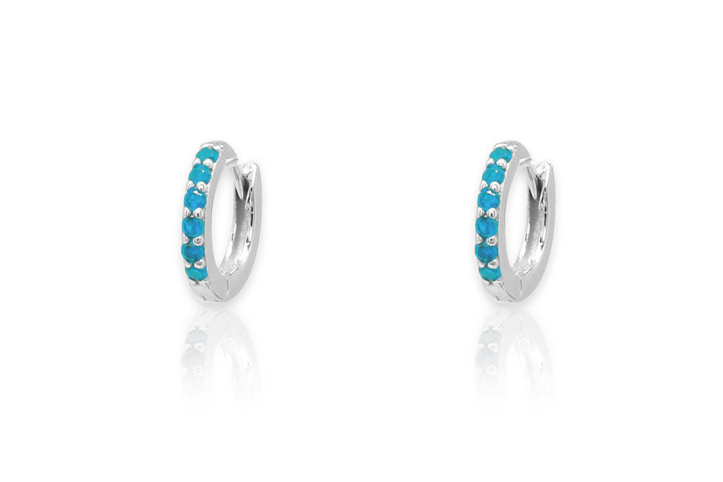 Reddy Turquoise Silver Hoop Earrings - Boho Betty