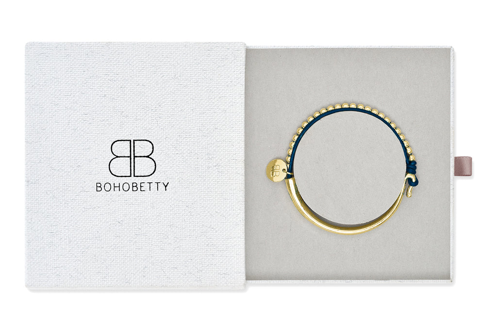 Loire Navy Leather & Gold Balls Bangle Gift Set