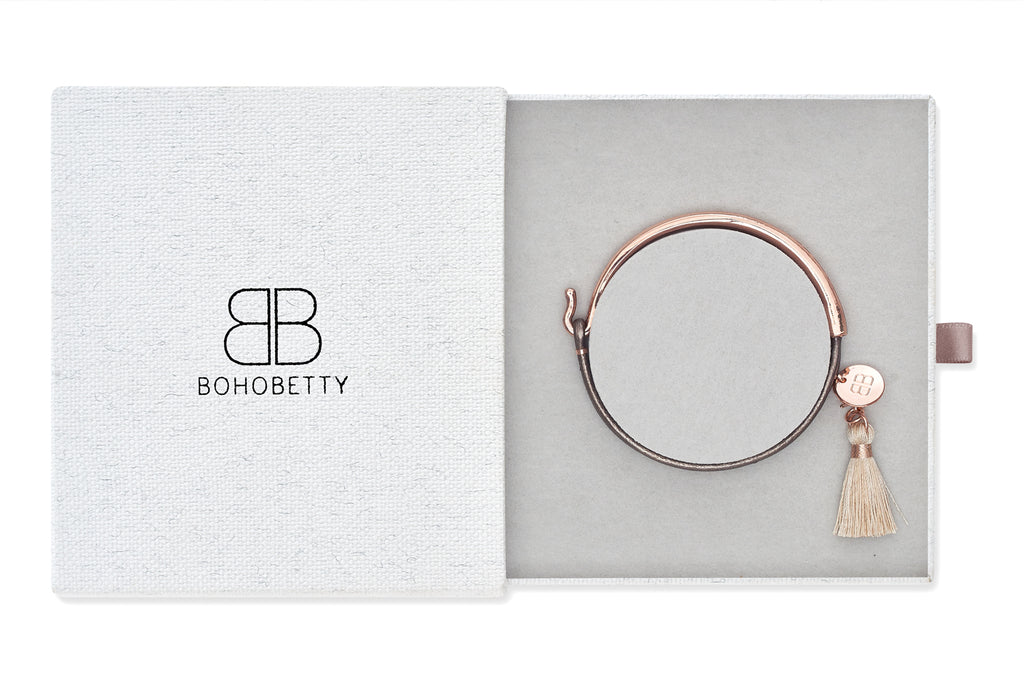Erdre Taupe Leather & Rose Gold Bangle Gift Set with Tassel
