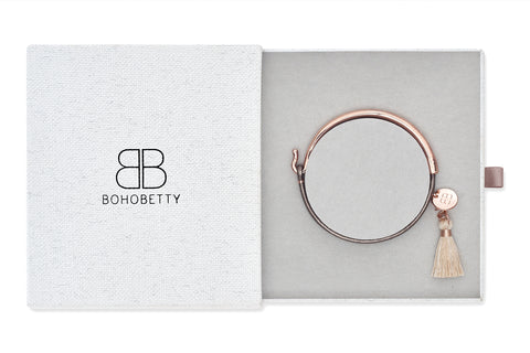 Erdre Leather Rose Gold Bangle Tassel Gift Set