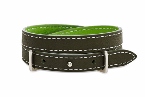 Rowan Dark and Light Green 2 wrap Leather Reversible Belt-Buckle Bracelet