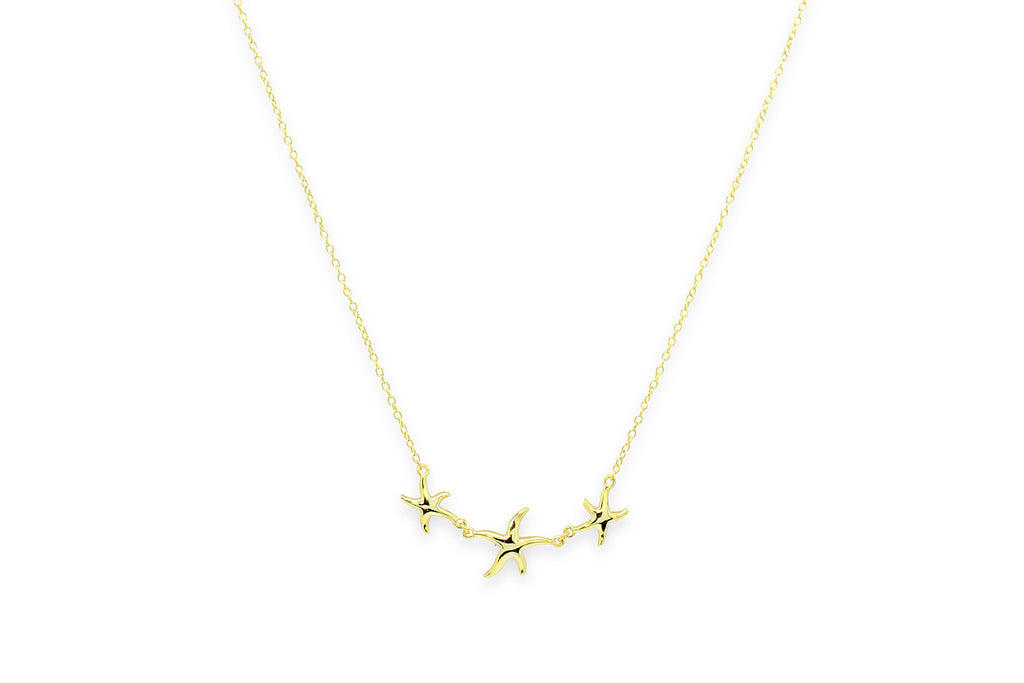 Rumbaba Gold Starfish Trio Necklace
