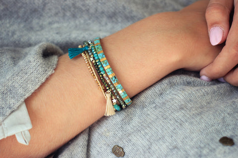 Still Tila Bead Stretch Bracelet