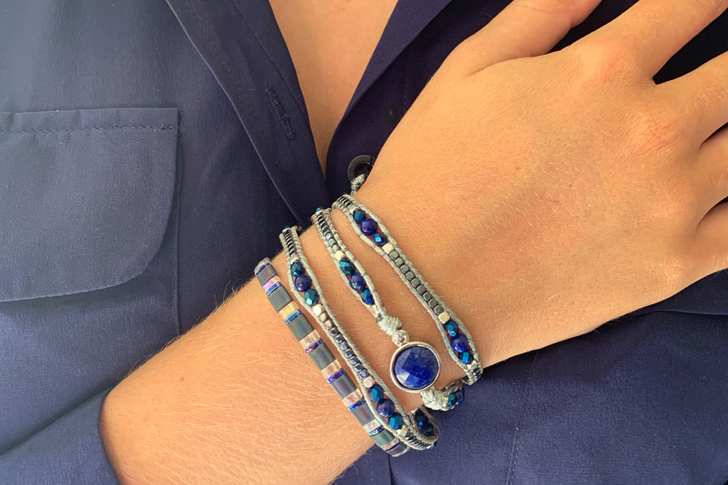America Blue Lapis Lazuli Gemstone Wrap Bracelet - Boho Betty