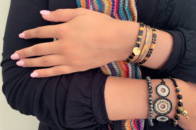 Lollipop Tila Bead Stretch Bracelet - Boho Betty