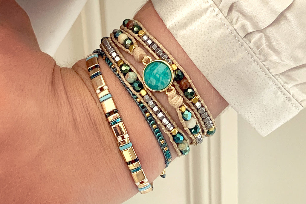 America Teal Amazonite Gemstone Wrap Bracelet - Boho Betty