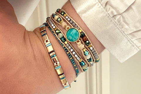 America Teal Amazonite Gemstone Wrap Bracelet
