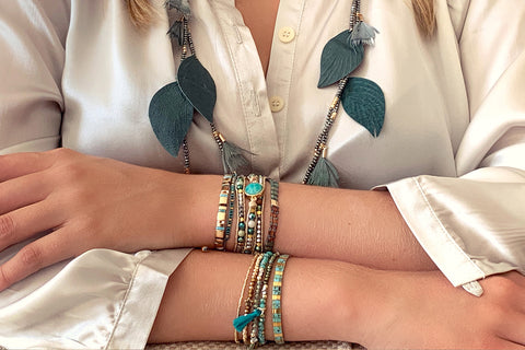 Manat Leather Teal Leaf Necklace
