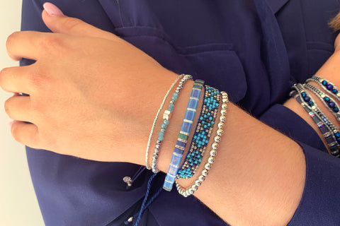 Songman 5 Row Blue Beaded Bracelet