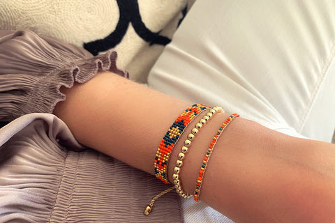 Blackstar 1 Row Orange Beaded Bracelet