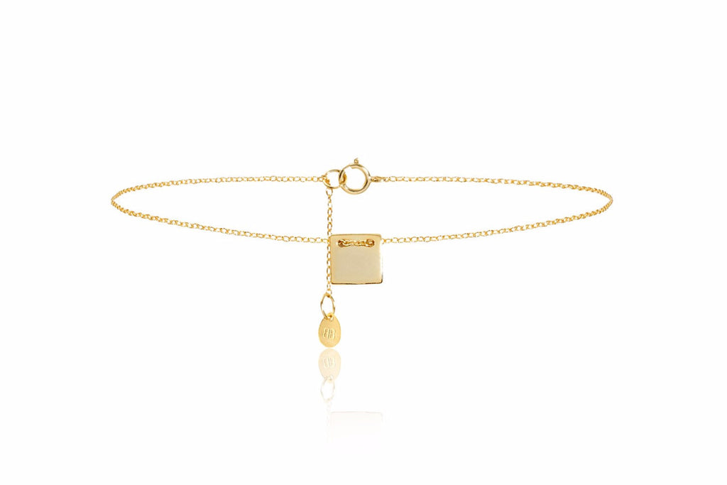 Square Gold on Sterling Silver Necklace with Square Pendant