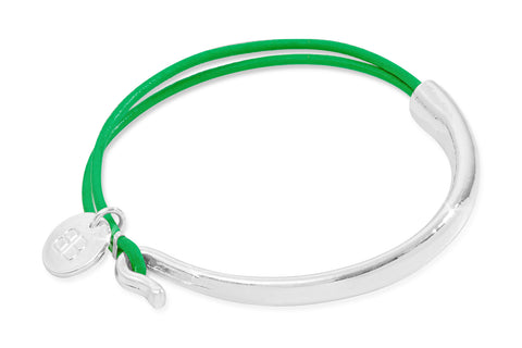Adour Fluoro Green Leather & Silver Bangle