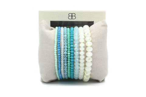 Zuccini 9 Layered Blue, Mint and White Bracelet Stack