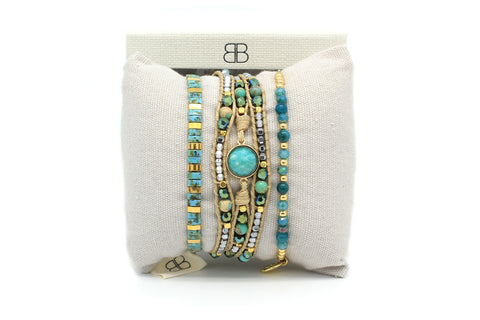 Bellatrix 3 Layered Teal Bracelet Stack