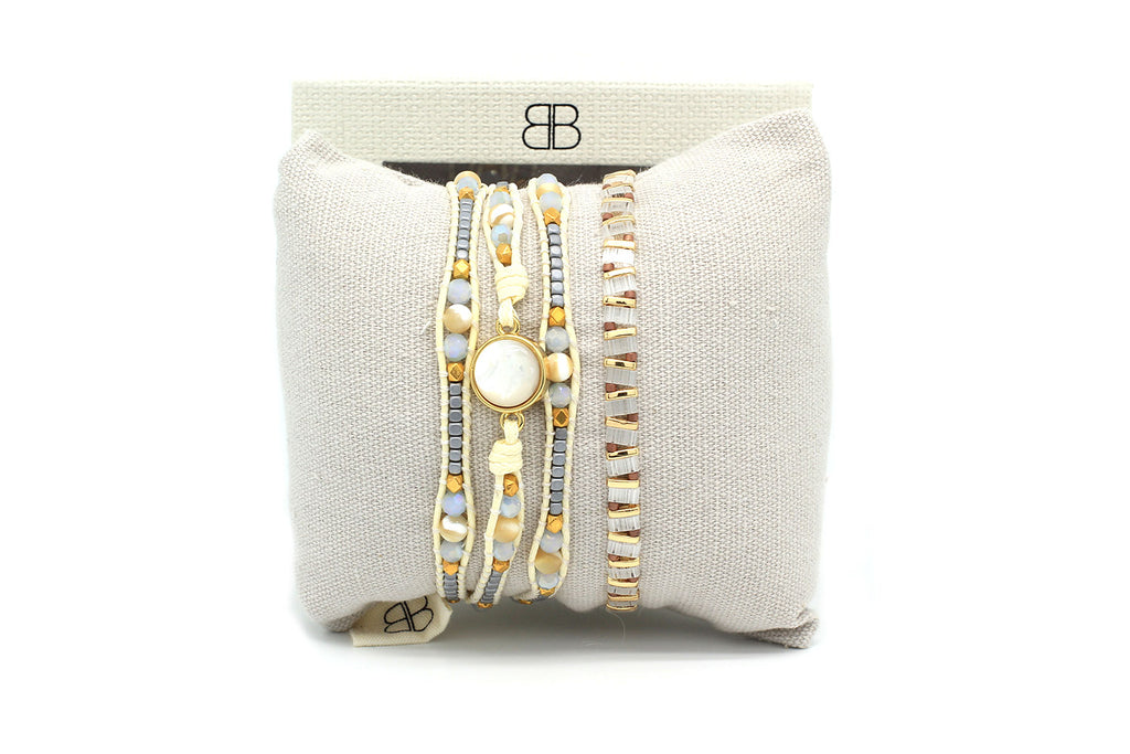 Pinatubo Cream & Gold 2 Layer Bracelet Stack - Boho Betty