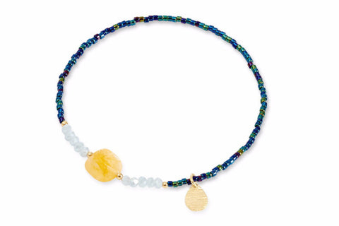 Stagecoach Navy Beaded Stretch Bracelet with White Crystals & Yellow Quartz