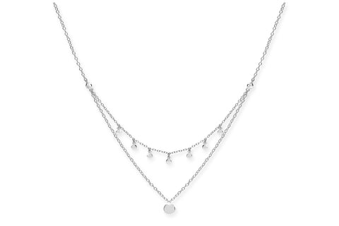 Syrah Silver Layered Disc Necklace