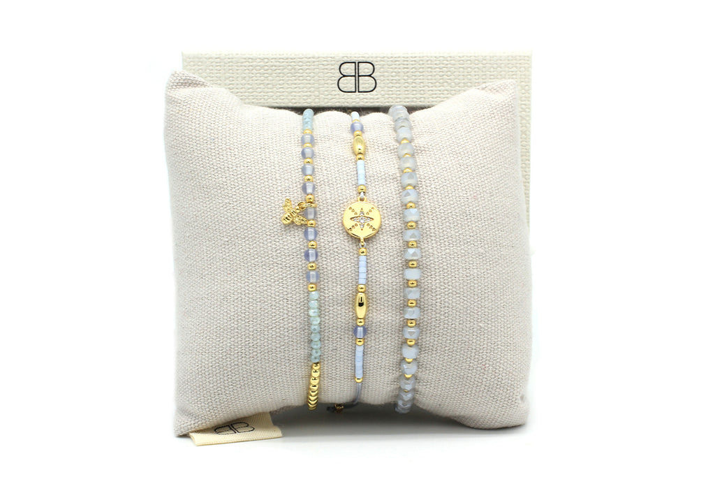 Saona Grey 3 Layered Bracelet Stack