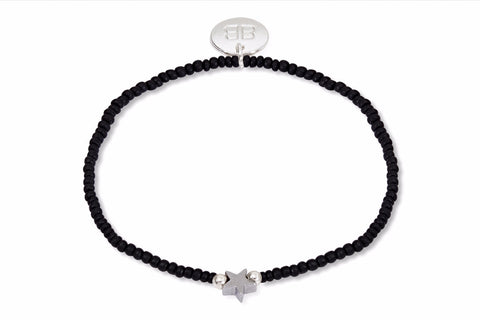 Sargas Black Beaded Star Stretch Bracelet