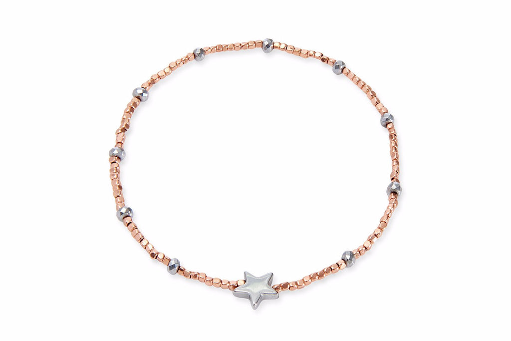 Sea Dragon Rose Gold Beaded Star Stretch Bracelet