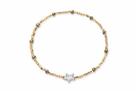 Seahorse Gold Beaded Star Stretch Bracelet