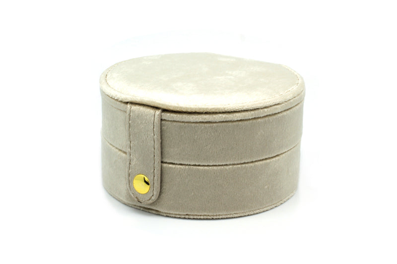Shalimar Taupe Round Velvet Jewellery Box - Boho Betty