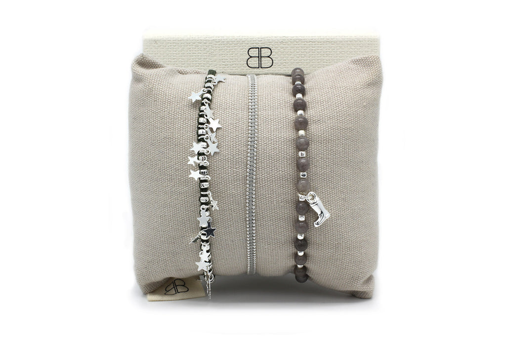 Shanghai Silver 3 Layered Bracelet Stack - Boho Betty