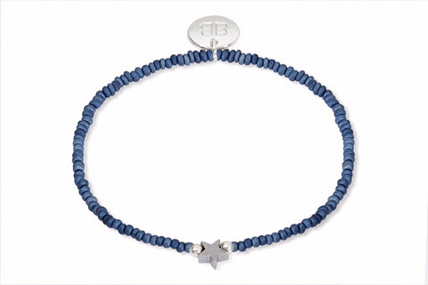 Situla Blue Beaded Star Stretch Bracelet