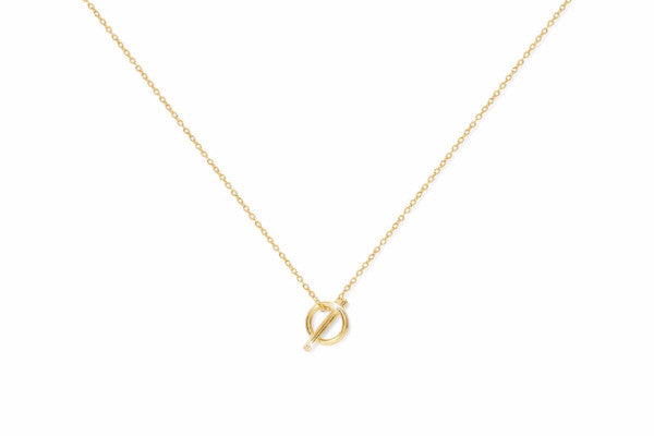 Soave Gold on Sterling Silver Necklace with Circle Cross Pendant