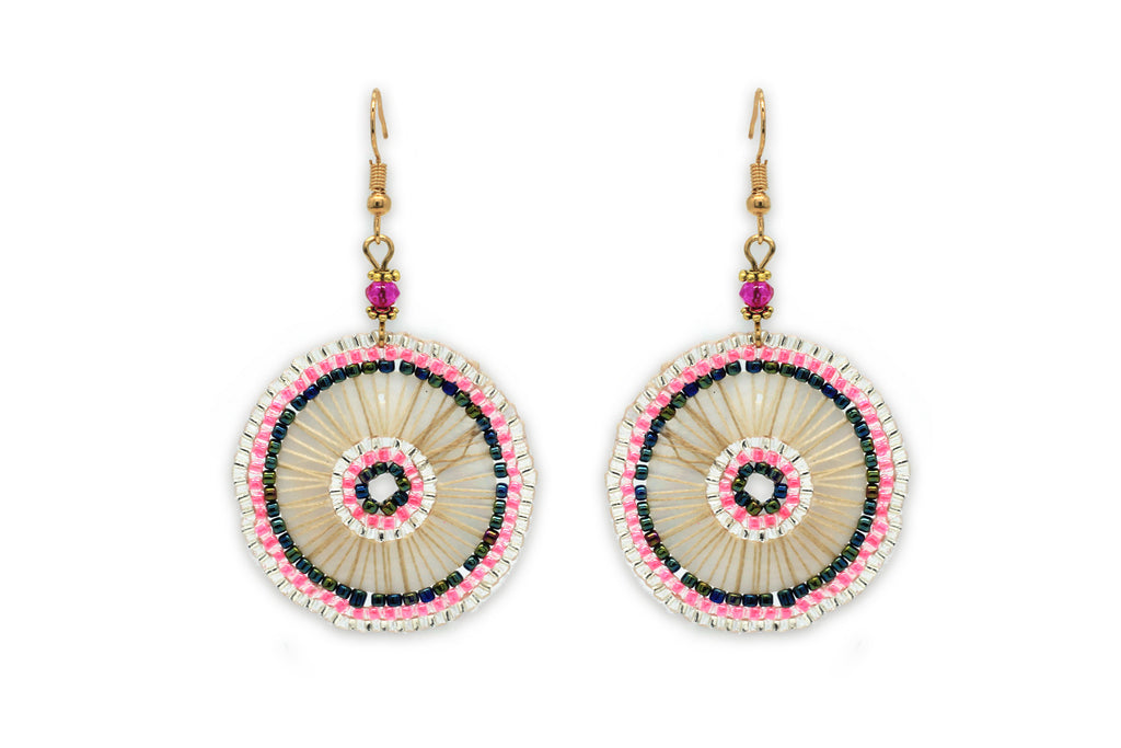 Sousta Pink Circular Beaded Earrings