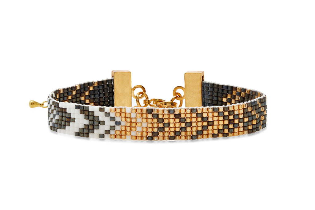 Space Oddity Grey & Gold Seed Bead Bracelet