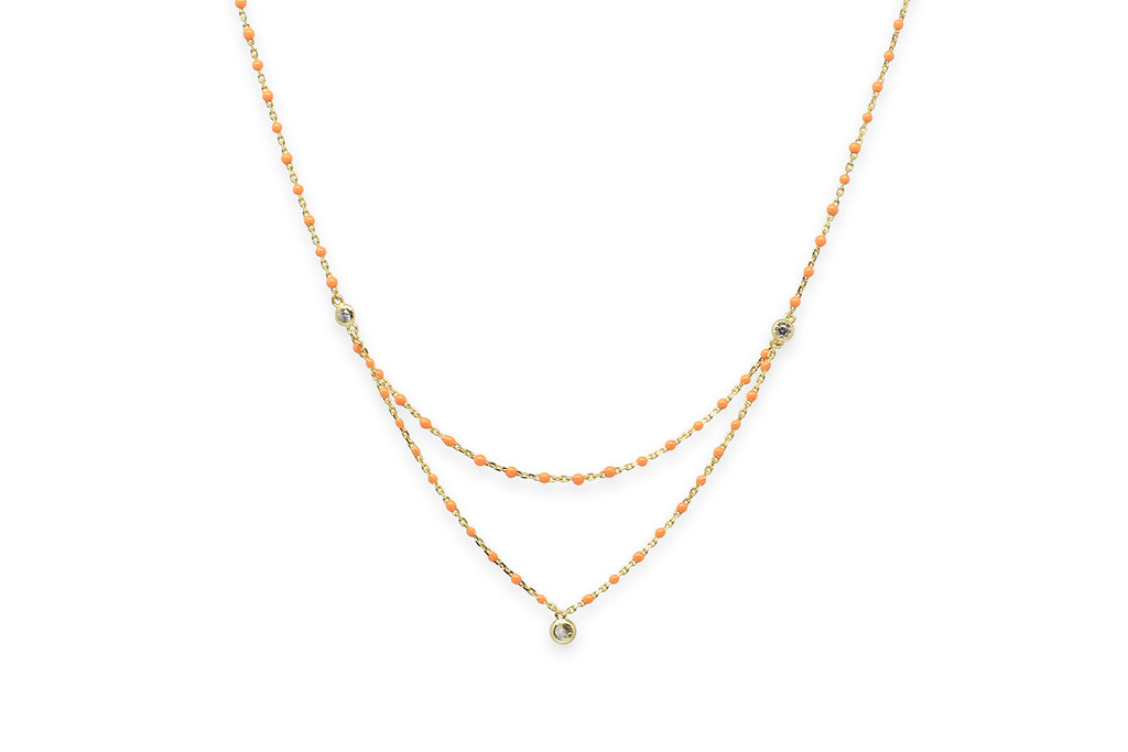 Spritz Gold Orange Enamel Necklace