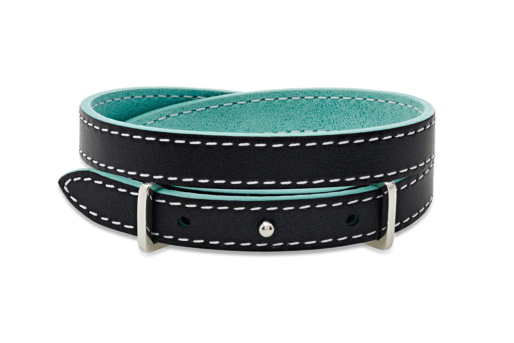 Spruce Metallic Navy and Light Turquoise 2 wrap Leather Reversible Belt-Buckle Bracelet