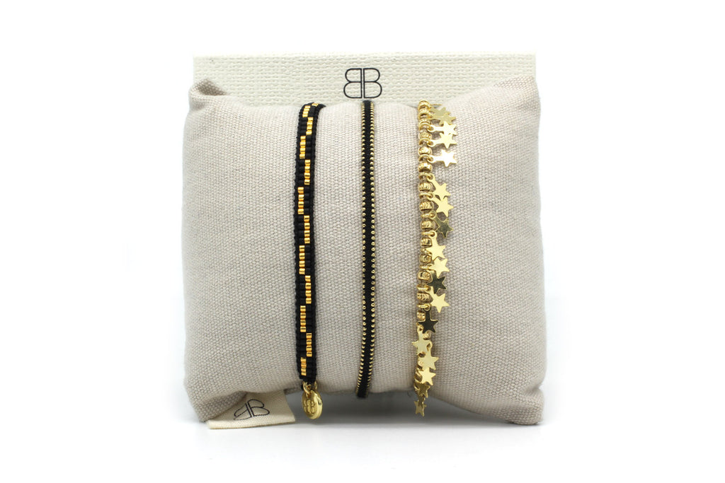 Bergen Black 3 Layered Bracelet Stack - Boho Betty