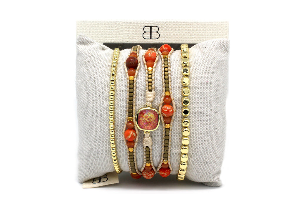 Corinth 3 Layered Orange & Gold Bracelet Stack - Boho Betty