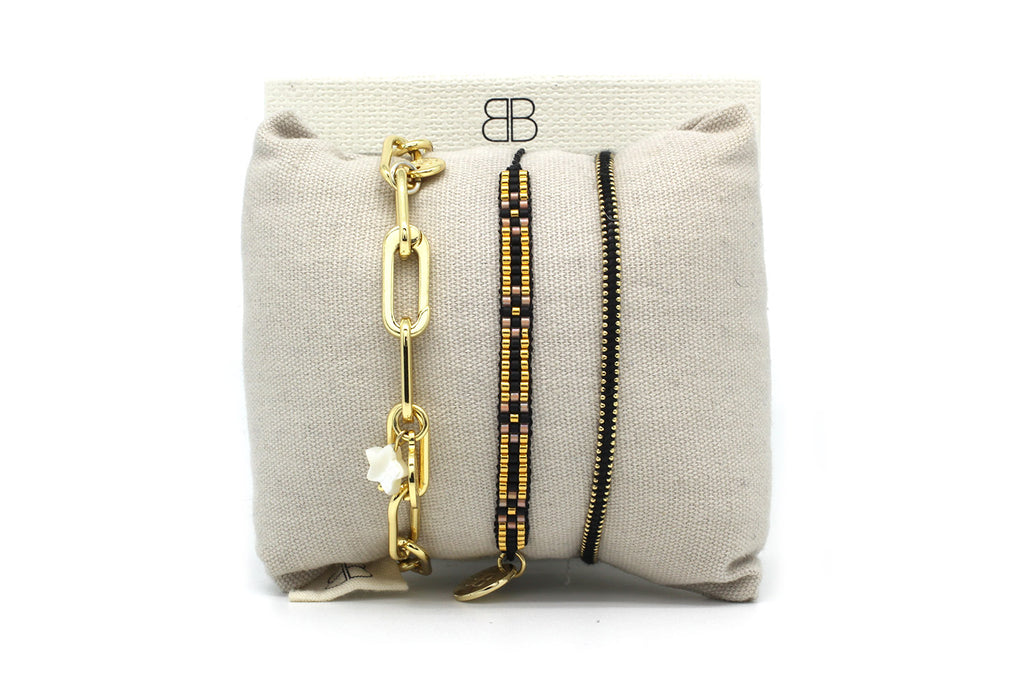 Geneva Black 3 Layered Bracelet Stack - Boho Betty