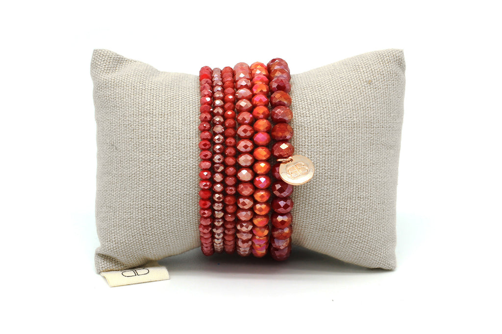 Harp 6 Layered Red Bracelet Stack