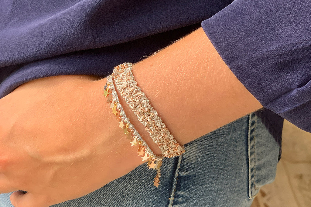 Pataya Silver 2 Layered Bracelet Stack - Boho Betty