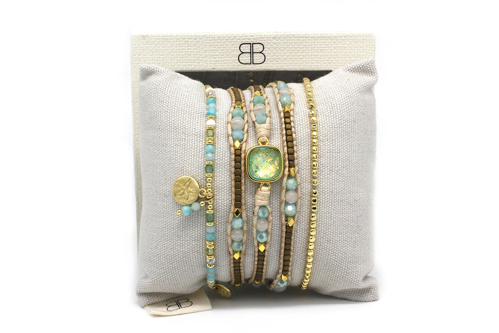 Salsberg Aqua and Gold 3 Layered Bracelet Stack - Boho Betty