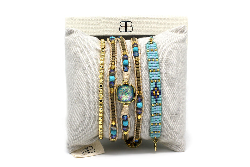 Surat Turquoise and Gold 3 Layered Bracelet Stack - Boho Betty