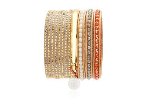 Great Pyramid of Giza - a combination of 3 layered gold leather bracelets