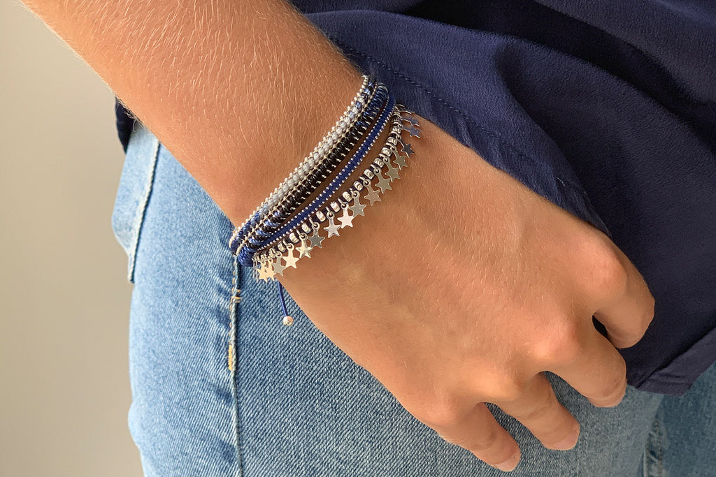 Euphonium Midnight Blue & Silver Pull Through Woven Bracelet - Boho Betty